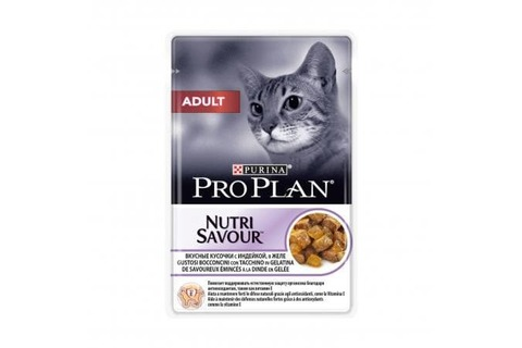 Pro Plan пауч для взрослых кошек кусочки в желе с индейкой 85г