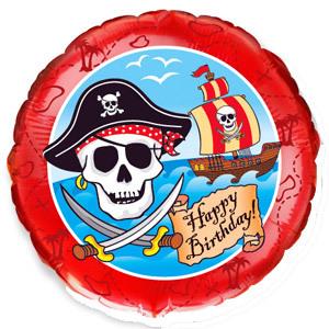 Фольгированный шар С днем рожденья Пираты 18