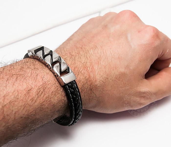 BM454 Массивный мужской браслет из кожи и стали (21 см) фото 07