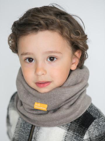 Детский снуд-горловинка из турецкой шерсти серо-коричневый