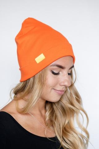 Шапка хлопковая гладкая оранжевая