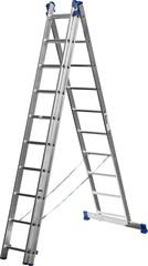 Лестница СИБИН универсальная, трехсекционная со стабилизатором, 10 ступеней
