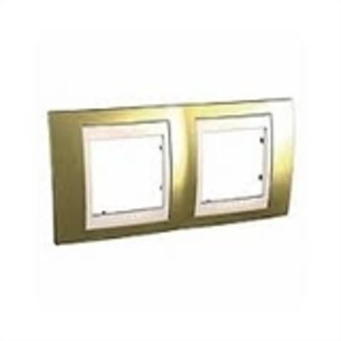 Рамка на 2 поста. Цвет Золото/Бежевый. Schneider electric Unica Хамелеон. MGU66.004.504