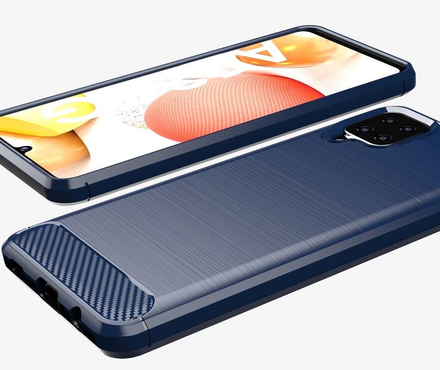 Чехол в стиле карбон темно-синего цвета на Samsung Galaxy A12, серия Carbon от Caseport