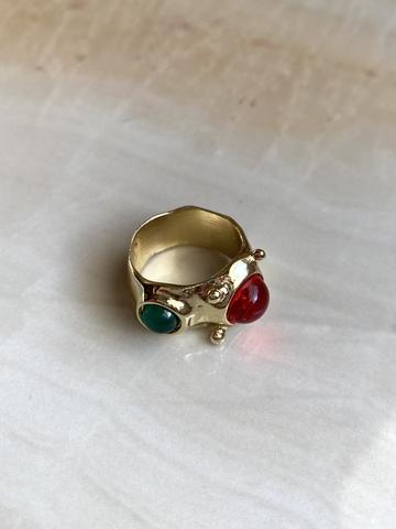 Кольцо Рольдалис, красный и зеленый камни