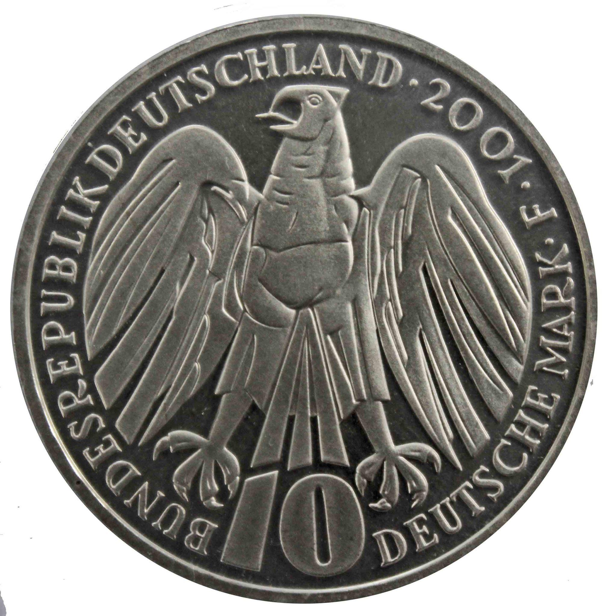 10 марок. 50 лет Федеральному конституционному суду (F). Серебро. 2001 г. PROOF. В родной запайке