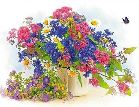 Алмазная Мозаика 40x50 Полевые цветы в железном стакане (арт. HWA3250 )