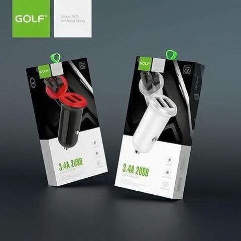 АЗУ Golf GF-C6, (2xUSB, 3.4A), black