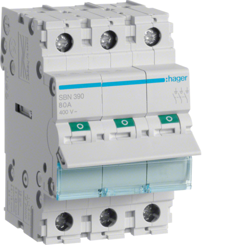 Выключатель-разъединитель (рубильник), 3P, Ie=100A 400В 50/60Гц, AC22A, Ui=500В, ширина 3M; арт. SBN390
