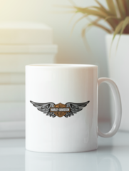 Кружка с рисунком Harley-Davidson (Харли-Дэвидсон) белая 009