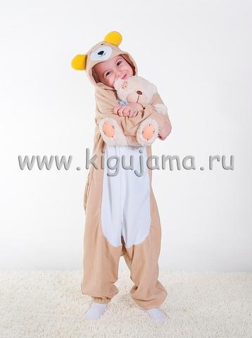 "Пижама кигуруми детская ""Мишка бежевый"""