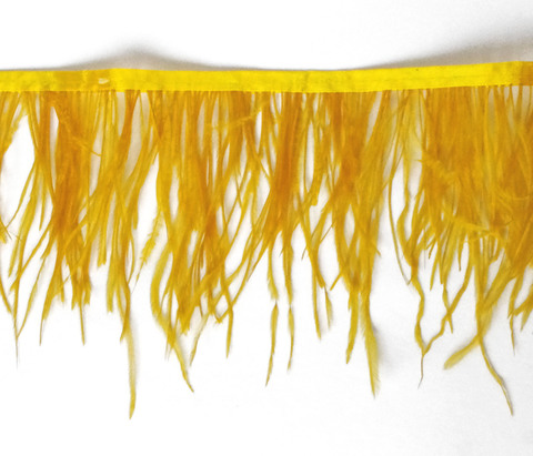 Тесьма  из перьев страуса h 10-15 см.,золотисто-оранжевый