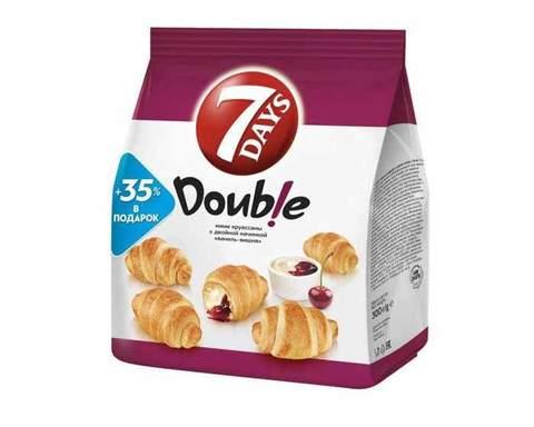 Мини круассаны «7DAYS» Double! с двойной начинкой Ваниль-Вишня, 300 г