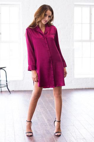 Рубашка Mia-Mia натуральный шелк вишневый, васильковый, пудра, молочный