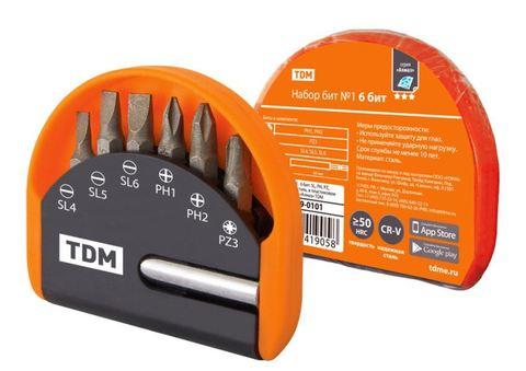 Набор бит №1,  6 бит: SL, PH, PZ, удлинитель CR-V сталь, в пластиковом держателе, «Алмаз» TDM