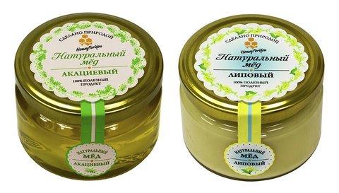 Набор (2 шт.) натурального меда HoneyForYou: липовый мед - 250г., акациевый мед - 250г.