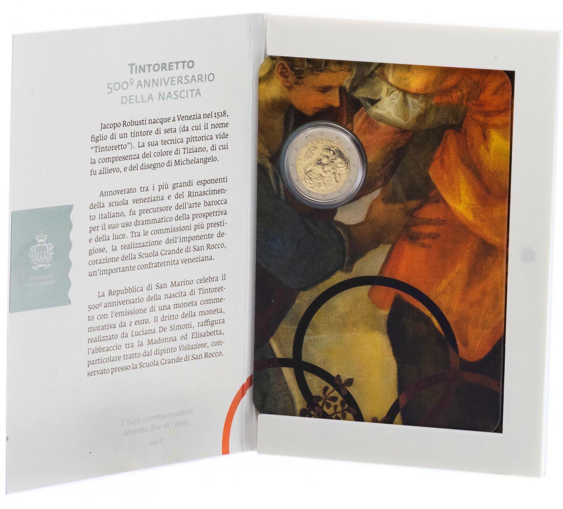 2 евро 2018 Сан-Марино - 500 лет со дня рождения Якопо Тинторетто (в буклете)