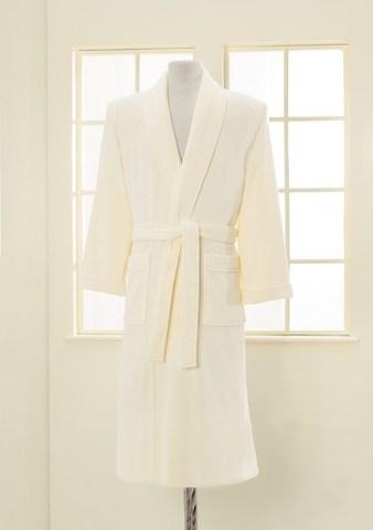 Мужской махровый банный халат LORD кремовый
