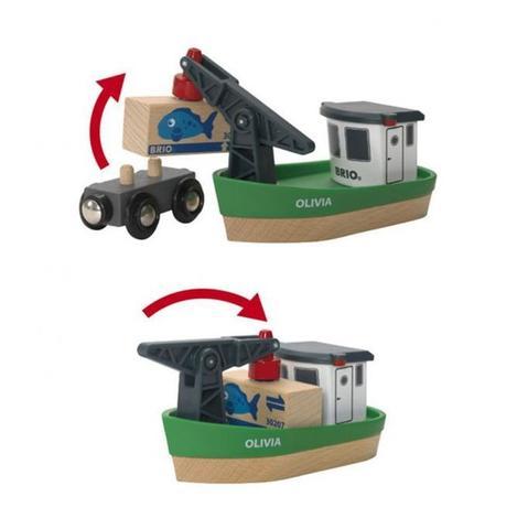 BRIO Корабль с краном-погрузчиком на магн. и вагончиком