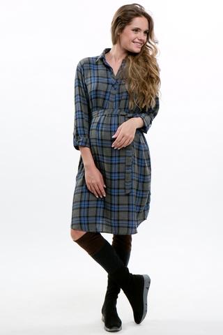 Платье для беременных 10922 серый/синий