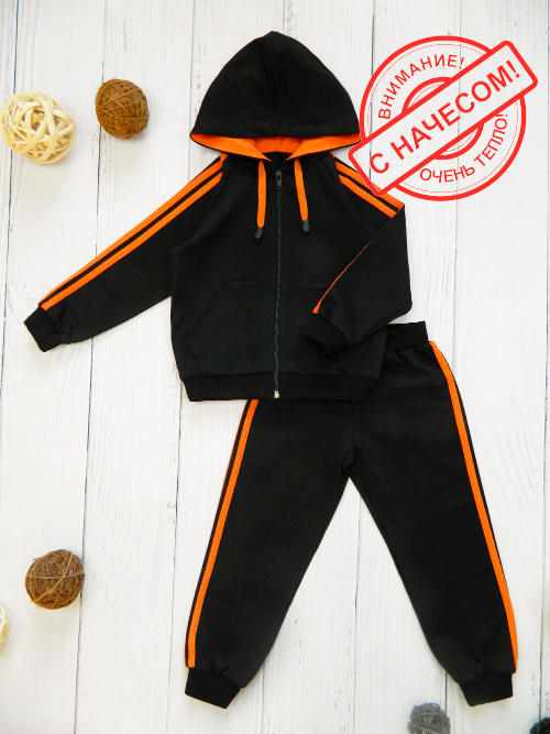 Костюм теплый 3041н, черно-оранжевый