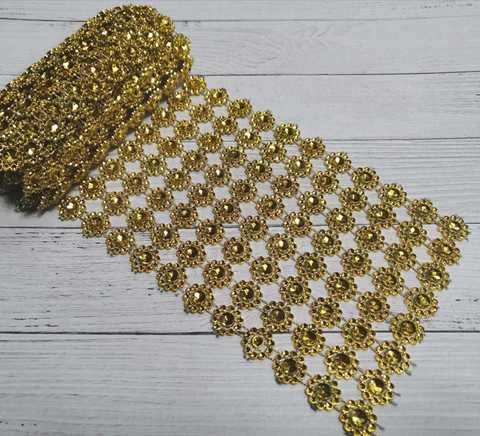Стразы на тканевой основе, золото, Крупные, размер 11.5 см*100см