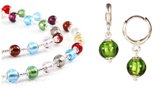Комплект Carnavale Argento (зеленые серьги Piccolo, ожерелье)