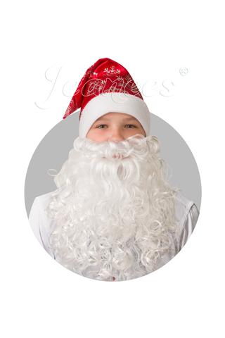 Колпак Деда Мороза с бородой (красный сатин со снежинками)