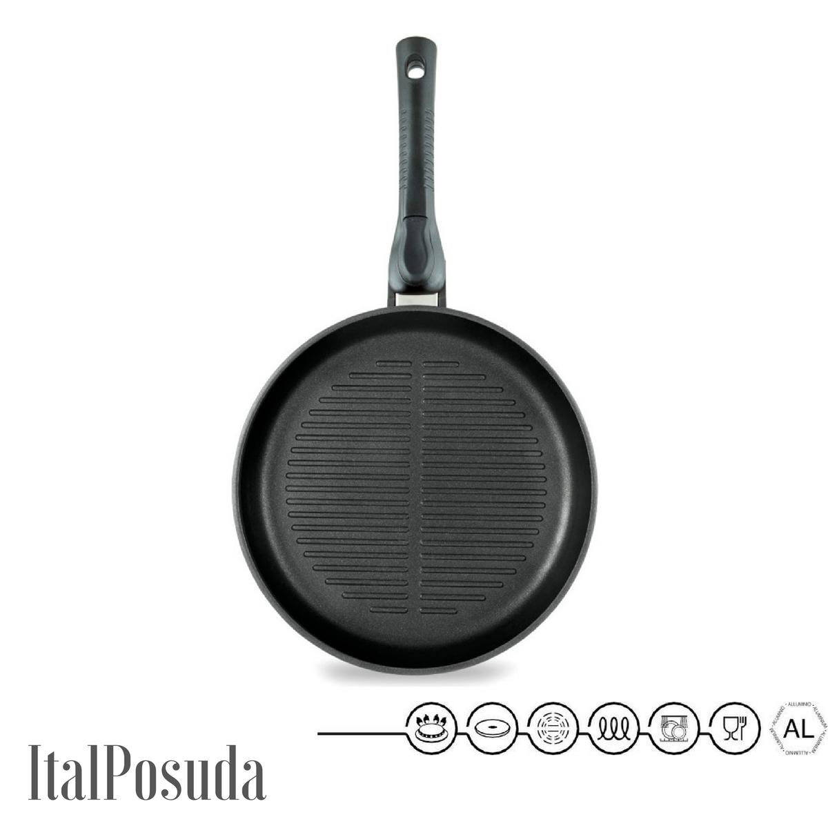 Сковорода Гриль со съёмной ручкой НМП Ферра Индукция, 26 см