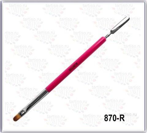 Кисть для геля с лопаточкой GELLAKTIK Красная 870-R