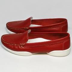 Туфли мокасины женские кожаные Evromoda 042.5710 WRed.