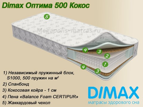 Матрас Dimax Оптима 500 Кокос с описанием от Мегаполис-матрас