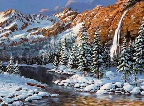Алмазная Мозаика 20x30 Зима в горах