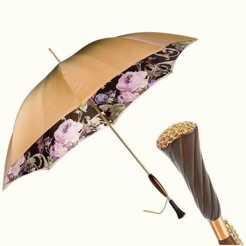 золотистый зонт с розами сваровски