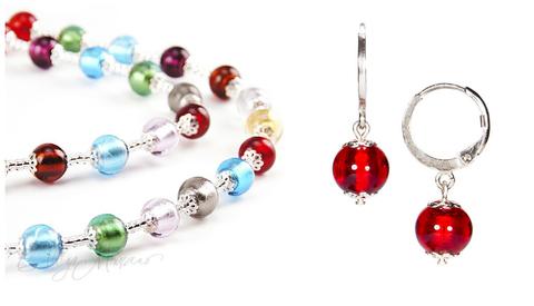 Комплект Carnavale Argento (красные серьги Piccolo, ожерелье)