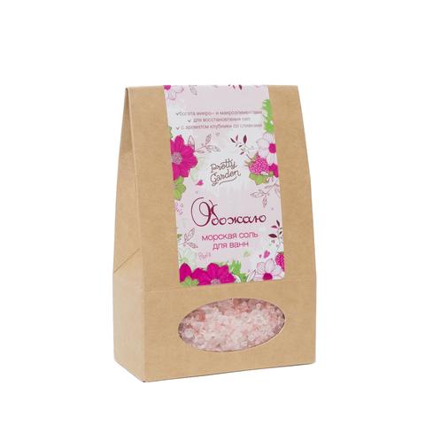 Морская соль для ванн Обожаю, 500 г с ароматом клубники со сливками ТМ PRETTY GARDEN