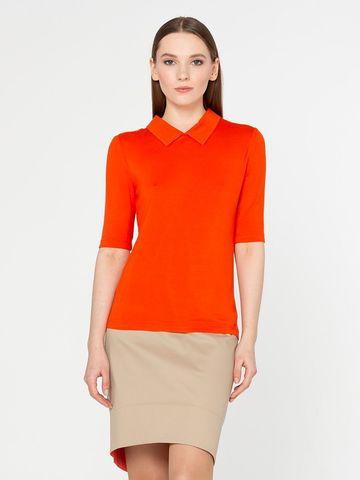 Фото оранжевый джемпер с отложным воротником и рукавами 3/4 с манжетами - Джемпер В498-292 (1)