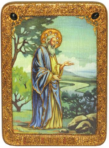 Инкрустированная икона Святой праотец Адам 29х21см на натуральном дереве, в подарочной коробке