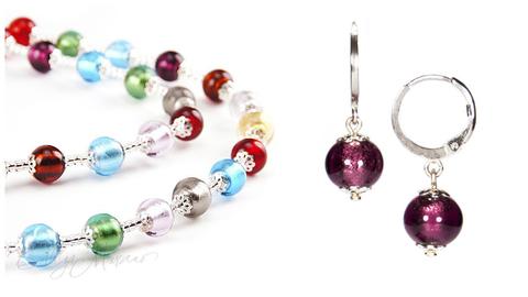 Комплект Carnavale Argento (фиолетовые серьги Piccolo, ожерелье)