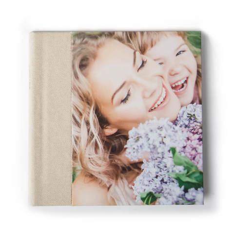 25x25 фотокнига с фото-обложкой+ текстильный торец