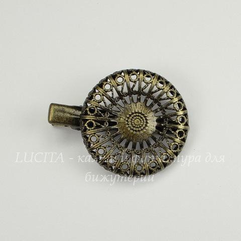 Основа для заколки с филигранью 30 мм, 40х30 мм (цвет - античная бронза)