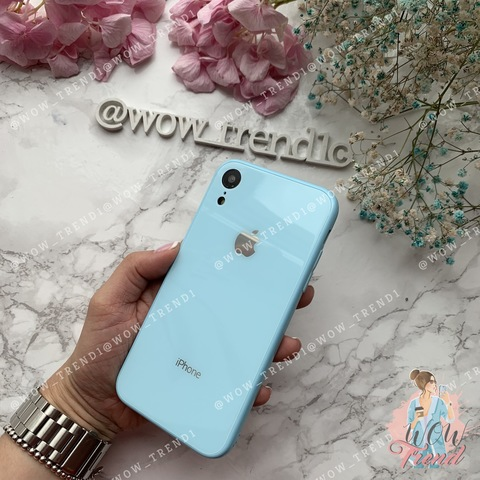 Чехол iPhone XR Glass Full color Case Logo /blue/