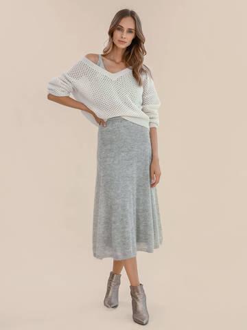 Женская юбка светло-серого цвета из мохера - фото 4
