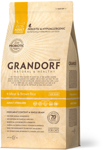 Grandorf Cat Probiotic Steril корм с пробиотиками для стерилизованных кошек (4 мяса с рисом) 400 г