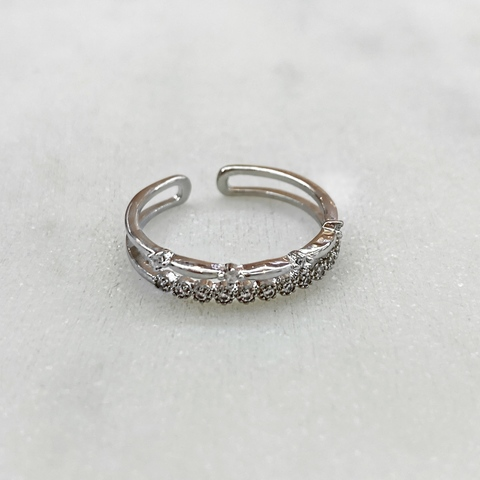 Кольцо Zircon двухрядное с малыми цирконами free size (юв.сплав)