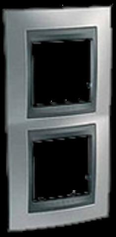 Рамка на 2 поста, вертикальная. Цвет Хром матовый-графит. Schneider electric Unica Top. MGU66.004V.238