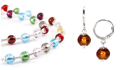 Комплект Carnavale Argento (янтарно-бронзовые серьги Piccolo, ожерелье)