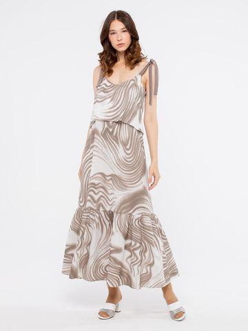 Фото летнее длинное платье а-силуэта на бретелях с воланами - Платье З189-344 (1)