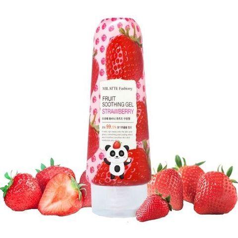 Milatte Fashiony Fruit Soothing Gel Strawberry многофункциональный гель для лица и тела с экстрактом клубники