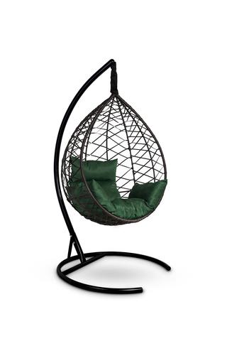 Подвесное кресло-кокон ALICANTE коричневое + каркас + зеленая подушка